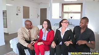 Horny business women are sucking hard black cocks at the business meeting