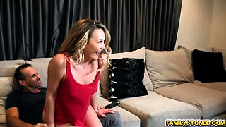 Stepdaughter bounce on her stepdads lap