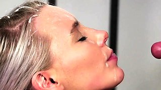 Kinky doll gets sperm shot on her face gulping all the jizz