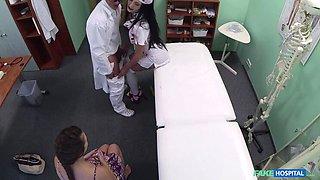 Doctor scares patient with his halloween nurse