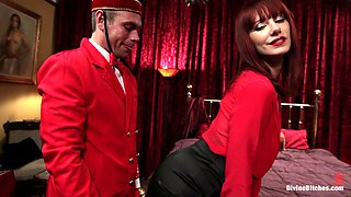 Redhead Mistress Gives Her Slave A Footjob