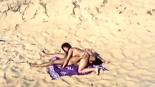 Fine and magnificent brunette babe on the beach wants to fuck