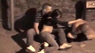 Voyeur sees a guy fingering a drunk girl
