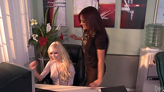 Horny Boss Kaylani Lei Has Some Lesbian Action With Her Secretary Elaina
