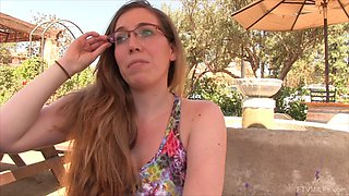 Under the table upskirt with a public flashing babe
