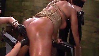 Wild Mistress Shoves Strapon Up A Girls Gaping Twat