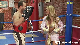 Sparring leads to a hot fucking session