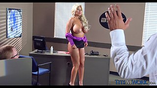 Huge Blonde Detective Tits at Work