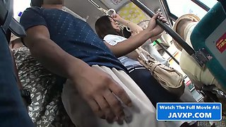 Shy asian teen fucked on the public bus, japanese jav