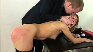 Spanked by her cruel boss