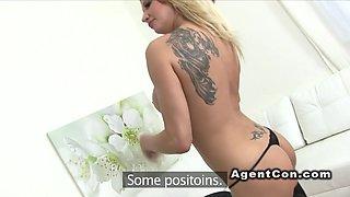 Big fake tits blonde banged in casting