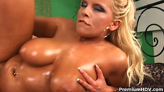 Big Oiled Tits Are Bouncing During Sex