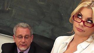 Bombshell blonde teacher fucks principal to keep her job