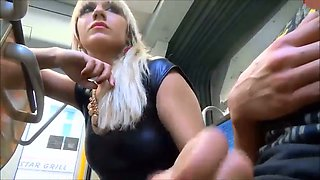 This blonde is my kind of girl and she loves sucking my dick on the public bus