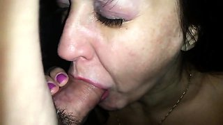Stacked brunette mom worships a cock and swallows a hot load