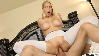 Attractive busty Vanessa Cage is picked up by the pool for awesome doggy fuck