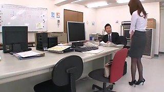 Exotic Japanese chick Saki Hatsuki in Amazing Stockings, Threesomes JAV clip