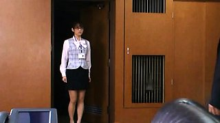 Excited secretary has pleasure with her boss in the office