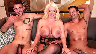 Amazing Alura Jenson and hot girls like to pose next to big cocks