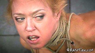 Sexy blonde mom is hogtied and dominated by an aged master