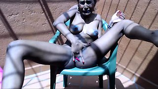 Luscious ebony babe fingering and toying her pussy to climax