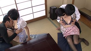 Hot Japanese women open their legs for a great shagging game