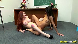 Female teacher teaches her female student how to eat pussy