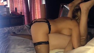 Hot big tit GF fucks guy with strap-on until they both cum