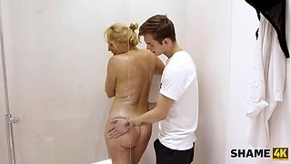 SHAME4K. Amazing Cougar Comes To Shower But In The End Has Sex