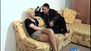 Slender blonde in pantyhose gets drilled in every position