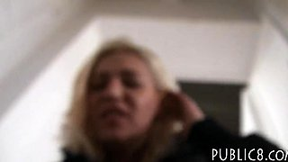 POV sex action with a slut being rammed in public