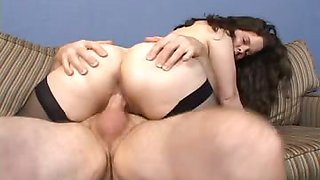 Brunette gets fucked on couch & receives nice cumshot on ass