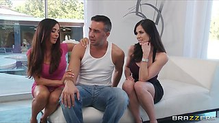 Brazzers - Two big-tit brunette MILF's fuck their poolboy