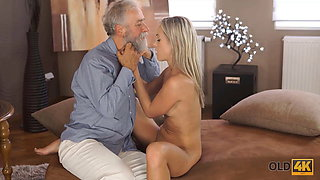 OLD4K. After passing all exams blonde has sex with her old lover