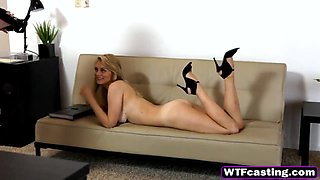 Lovely teen blonde sexual attraction with fake hot babe agent