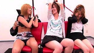 Asian cuties enjoy the pleasures of bondage and hardcore sex