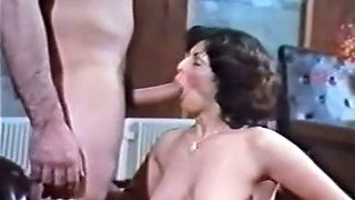 Busty and hot pale skin brunette Euro lady gives blowjob
