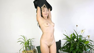 Naughty mature wife Lira Kissy takes off her panties to play