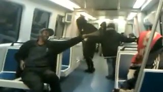 Black bag woman takes a piss on the subway