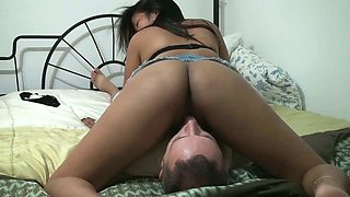 My charming girlfriend gives me a nice blowjob in 69 position