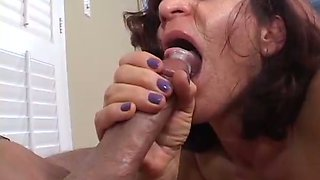 Horny grandma take large cock deep throat and swallows cum