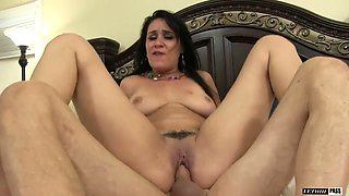 Slutty brunette Charley Chase gives a rimjob and gets her pussy nailed