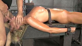 Sexy big breasted Courtney Taylor gets bound onto fucking machine