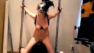Masked slavegirl cumming like crazy on top of a huge sybian