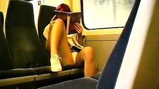 Peeping on a leggy redhead in public