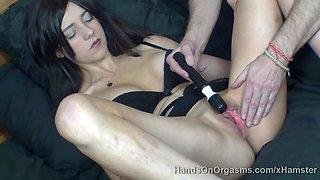 Camera man controls and denies big lipped girls orgasms