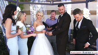 Captivating bride Alix Lynx is making love with her husband soon after the wedding ceremony