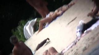 A nude Slavic beach voyeur spy cam video