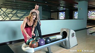 sexy milf sucks big cock in the bowling alley