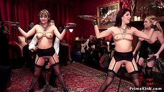 Hot slaves fisted at swingers party
